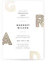 This is a brown graduation announcement invitation by Pixel and Hank called Finest with foil-pressed printing on signature in standard.