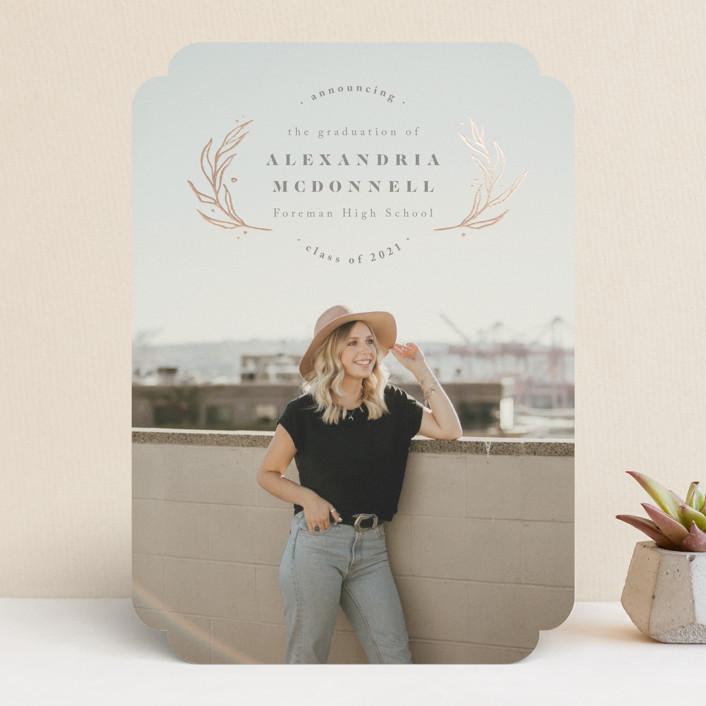"""Shiny Wreath"" - Preppy Foil-pressed Graduation Announcements in Slate by Anastasia Makarova."
