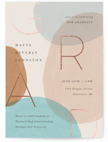 This is a beige graduation announcement invitation by Pixel and Hank called Vibrant Grad with foil-pressed printing on signature in standard.