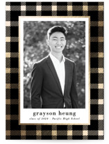 This is a black graduation announcement invitation by Hooray Creative called Buffalo Plaid with foil-pressed printing on smooth signature in standard.