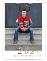 This is a gold graduation announcement invitation by Ella Weaver called Serif Grad with foil-pressed printing on smooth signature in standard.