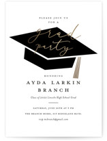 This is a black graduation announcement invitation by Stacey Meacham called Caps Off with foil-pressed printing on signature in standard.