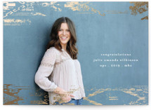 This is a white graduation announcement invitation by Phrosne Ras called Aztec with foil-pressed printing on smooth signature in standard.