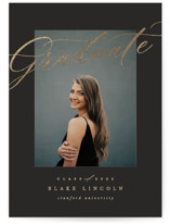 This is a black graduation announcement invitation by Creo Study called Glamed with foil-pressed printing on smooth signature in standard.