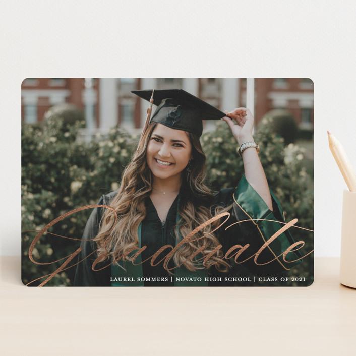 """Graceful Graduate Script"" - Modern Foil-pressed Graduation Announcements in Chalk by Paper Dahlia."