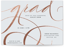 This is a brown graduation announcement invitation by letterfix called glamour grad with foil-pressed printing on signature in standard.