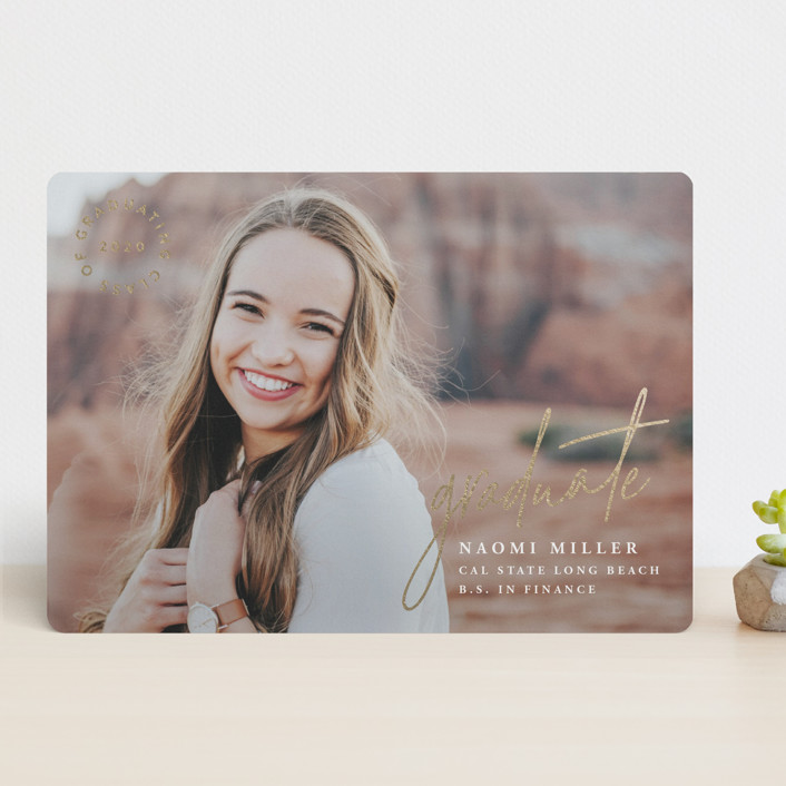 """""""Opportunity"""" - Modern Foil-pressed Graduation Announcements in Pearl by Owl and Toad."""