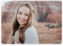 This is a white graduation announcement invitation by Owl and Toad called Opportunity with foil-pressed printing on smooth signature in standard.