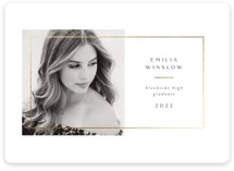 This is a white foil pressed graduation card by Jen Banks of Ink and Letter called Simple Frame with foil-pressed printing on signature in standard.