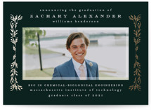 This is a green graduation announcement invitation by Ana de Sousa called Laurel border with foil-pressed printing on smooth signature in standard.
