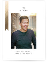 This is a black graduation announcement invitation by Jackie Crawford called Epilogue with foil-pressed printing on smooth signature in standard.
