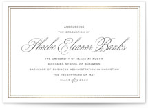 This is a black and white graduation announcement invitation by Toast & Laurel called Scholarly Charm with foil-pressed printing on signature in standard.