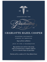 This is a black graduation announcement invitation by Jill Means called Medical Degree with foil-pressed printing on signature in standard.