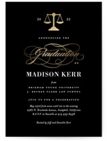 This is a black graduation announcement invitation by Jill Means called Law Degree with foil-pressed printing on signature in standard.