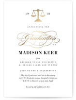 This is a yellow graduation announcement invitation by Jill Means called Law Degree with foil-pressed printing on signature in standard.