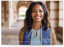 This is a gold graduation announcement invitation by Stacey Meacham called Etched in love with foil-pressed printing on smooth signature in standard.