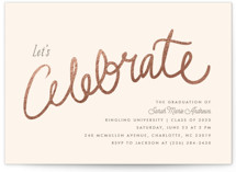 This is a red graduation announcement invitation by chocomocacino called Charlemagne with foil-pressed printing on signature in standard.