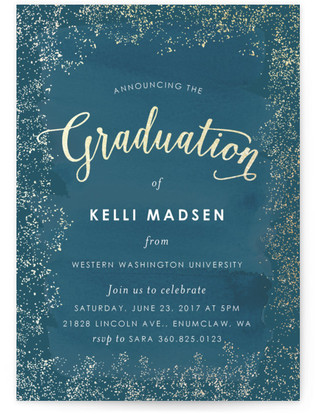 Golden Graduation Foil-Pressed Graduation Announcements