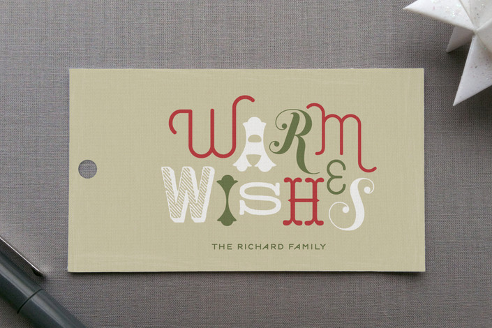 """Rustic Wishes"" - Modern, Bold typographic Gift Tags in Wintergreen by Lauren Chism."