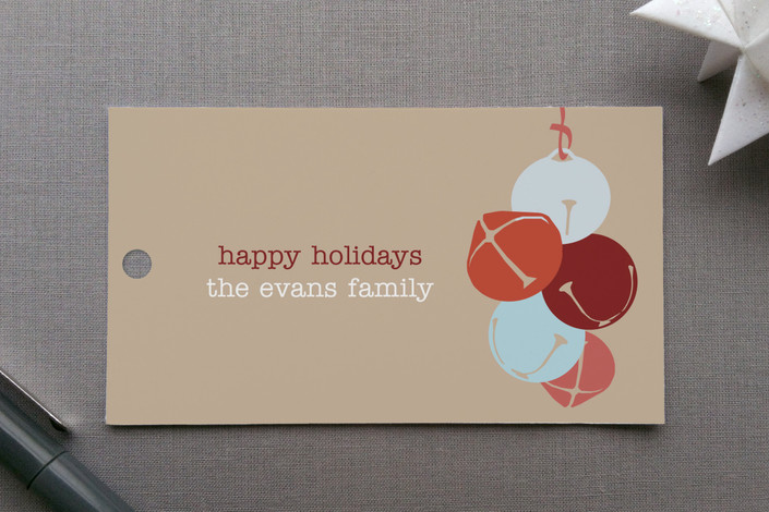"""Bells for the Holidays"" - Modern, Simple Gift Tags in Mocha by Phoebe Wong-Oliveros."