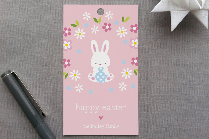 """""""Baby Bunny"""" - Classical Gift Tags in Pale Pink by Coco and Ellie Design."""
