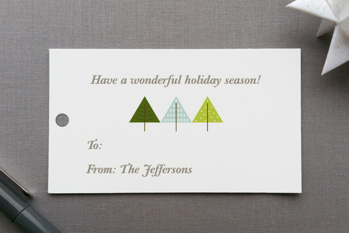 """Trees and More Trees"" - Modern, Simple Gift Tags in Kiwi by Sharon Rowan."