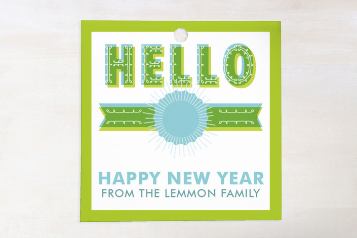 """Big Hello"" - Modern, Bold typographic Gift Tags in Limeade by Susie Allen."