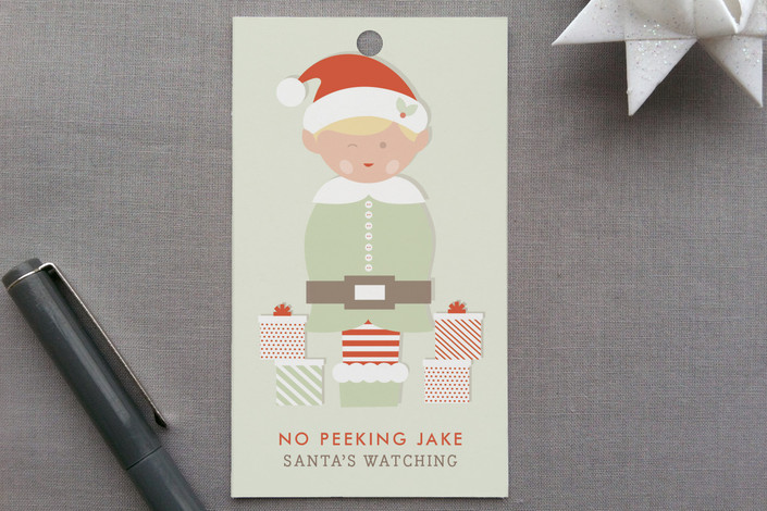 """""""Peeking Elf"""" - Funny, Whimsical & Funny Gift Tags in Mint Leaf Tea by The Social Type."""