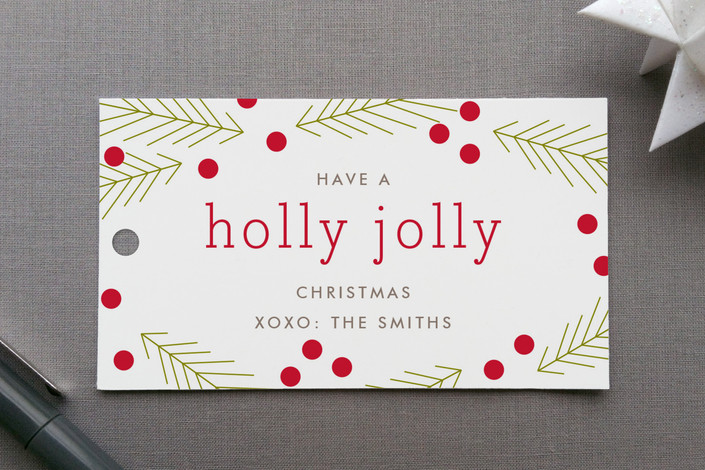 """Holly Jolly"" - Simple, Traditional Colors Gift Tags in Holly by Toast & Laurel."