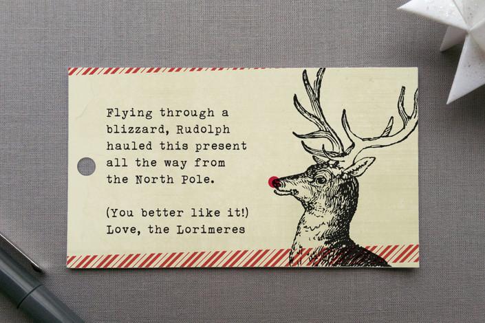"""Rudolph"" - Gift Tags in Crimson by Ann Gardner."