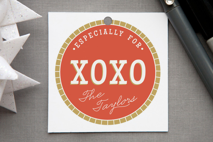 """Especially For"" - Modern, Bold typographic Gift Tags in Coral by Alston Wise."