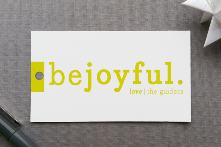 """Be Joyful"" - Modern, Minimalist Gift Tags in Lemon by Snow and Ivy."