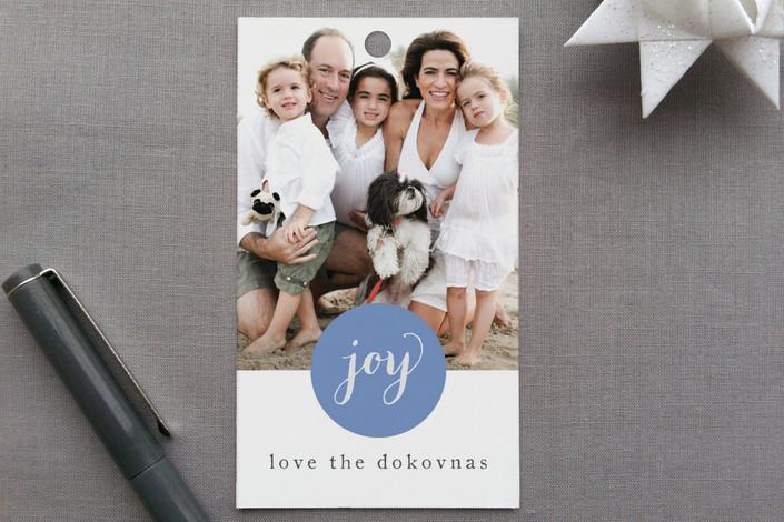 """Simply Joy"" - Modern, Classical Gift Tags in Azure by jmelianne."