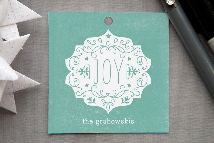"""""""Festive Joy"""" - Classical, Traditional Gift Tags in Dusty Blue by Bonjour Paper."""