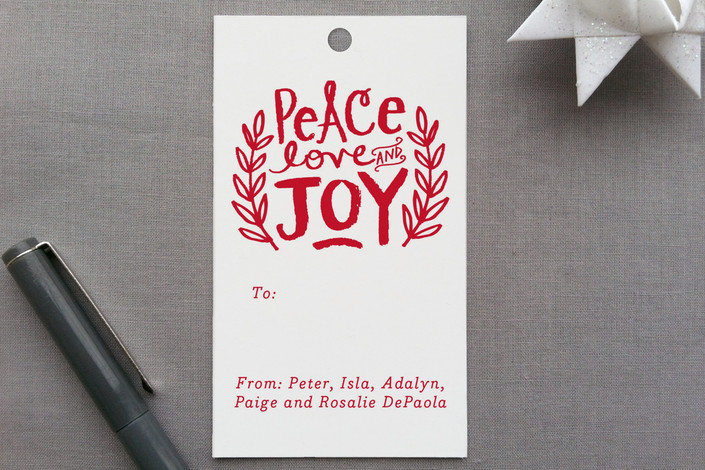 """Peace Love and Joy Branches"" - Hand Drawn, Bold typographic Gift Tags in Holly by Alethea and Ruth."