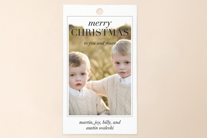 """Editorial"" - Modern, Full-Bleed Photo Gift Tags in Onyx by Sara Hicks Malone."
