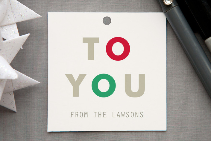 """Lovely Rhythm"" - Bold typographic, Modern Gift Tags in Mistletoe by kelli hall."