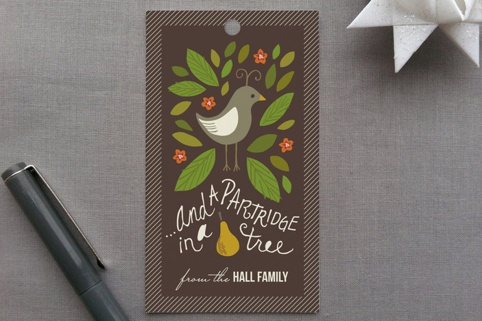 """""""In a Pear Tree"""" - Classical, Traditional Gift Tags in Chocolate by Griffinbell Paper Co.."""