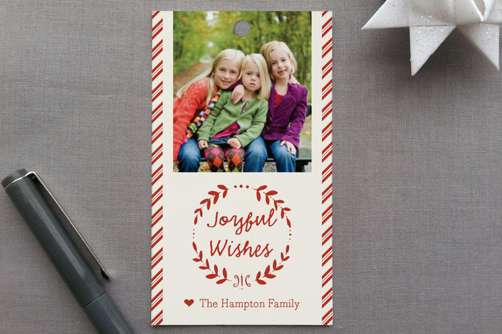 """""""Joyful Wishes"""" - Simple, Rustic/Craft Gift Tags in Cinnamon by Coco and Ellie Design."""