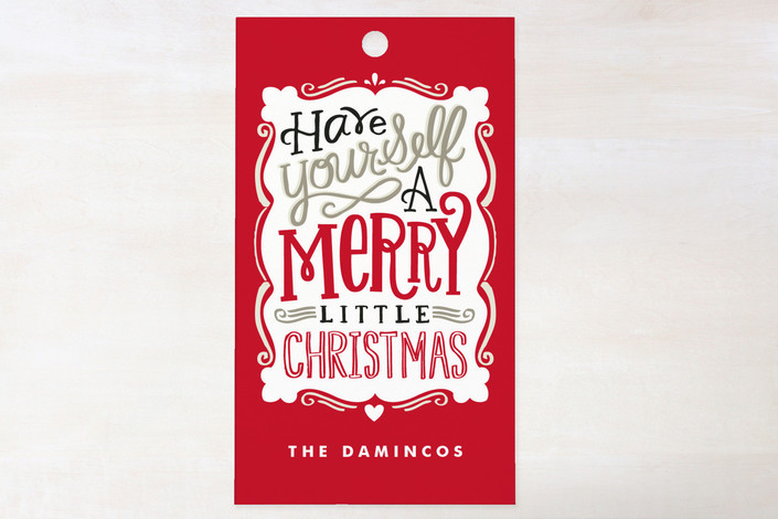 """Merry Typography"" - Bold typographic, Hand Drawn Gift Tags in Deep Crimson by Alethea and Ruth."