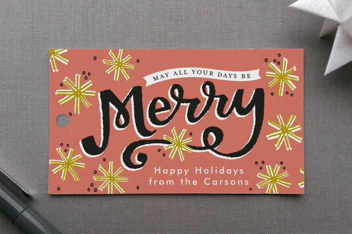 """""""Merry Snowflakes"""" - Bold typographic, Modern Gift Tags in Salmon by Alethea and Ruth."""