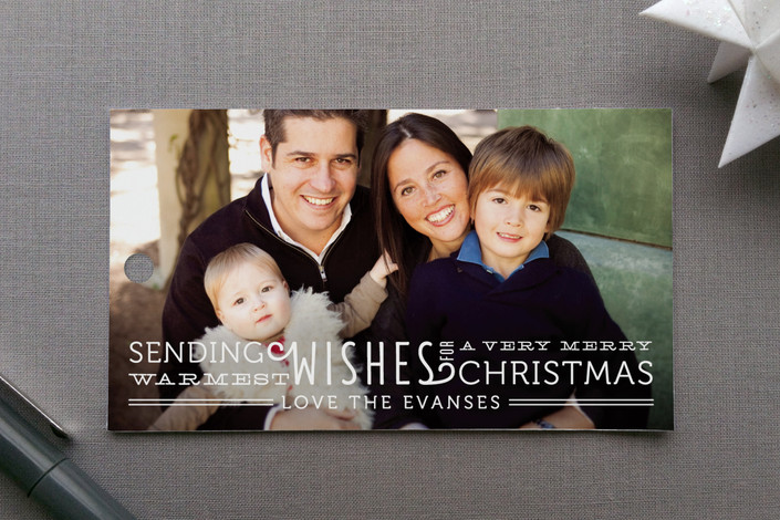 """""""Warmest Wishes"""" - Full-Bleed Photo, Bold typographic Gift Tags in Snow by Lehan Veenker."""
