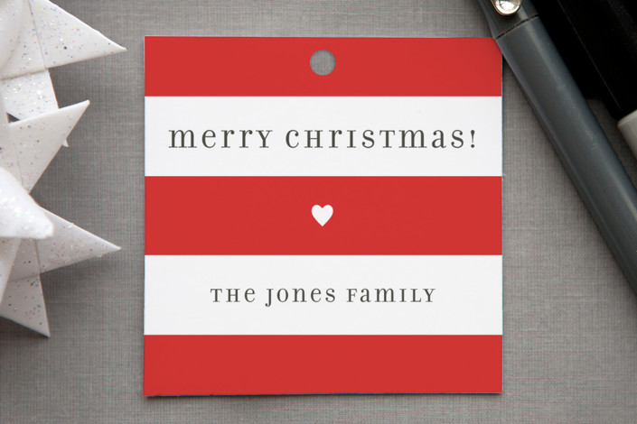 """Bright Stripes"" - Modern Gift Tags in Crimson by Jill Means."