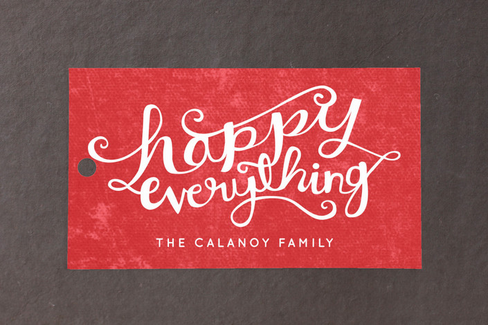"""Happy Everything"" - Bold typographic, Modern Gift Tags in Cherry by Kristen Smith."