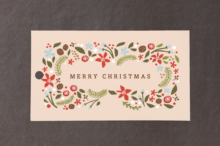 """""""Blushing Christmas"""" - Rustic/Craft, Classical Gift Tags in Peach by Jennifer Wick."""