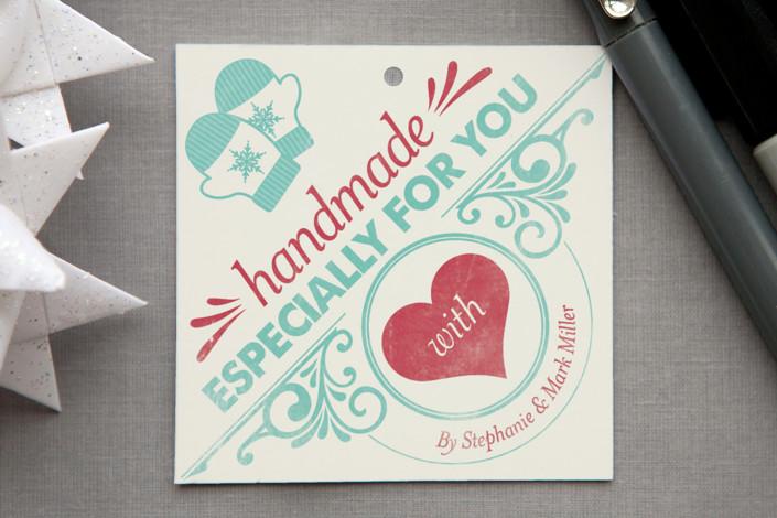 handmade with love vintage gift tags in aqua by geekink design - Christmas Tags Handmade