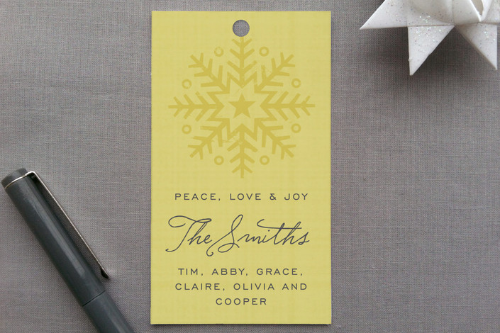 """Peace, Love and Joy"" - Non-Traditional Colors, Modern Gift Tags in Gold by Jamie Bryant."