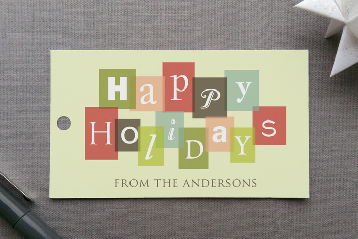 """Holiday Letters"" - Bold typographic, Modern Gift Tags in Rose Garden by Katherine Moynagh."