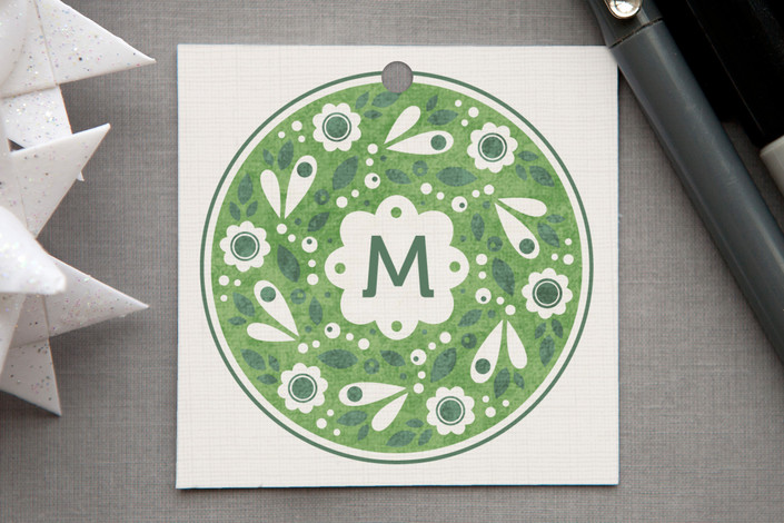 """""""Wreath Stamp"""" - Traditional Colors, Vintage Gift Tags in Holly Green by Kristen Smith."""