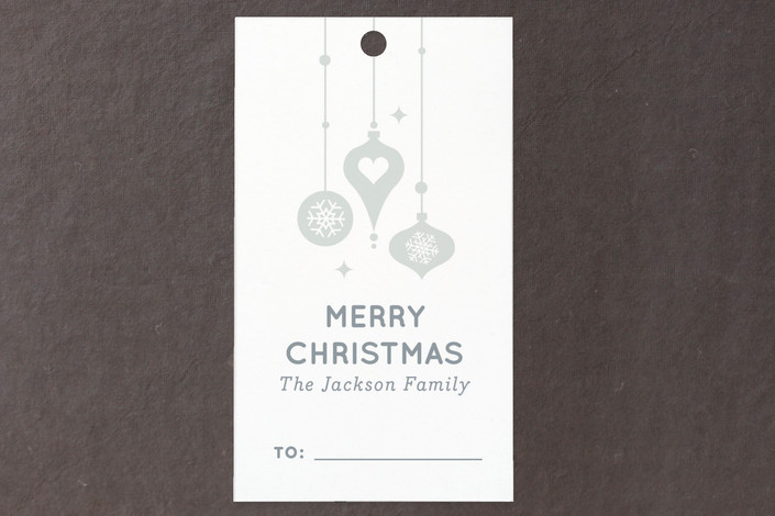 """Snowy Ornaments"" - Simple, Modern Gift Tags in Diamond Blue Topaz by Kristen Smith."